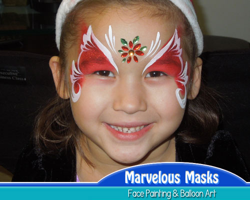 Poinsettia Princess Christmas Face Art