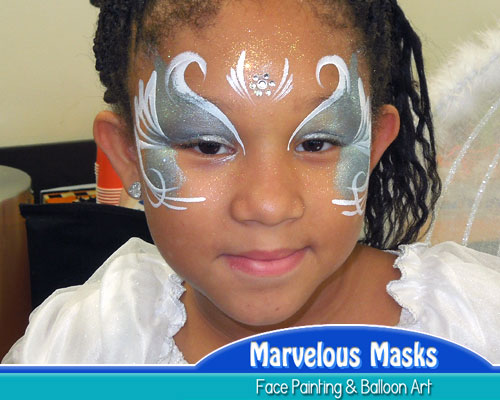 Silver Angel Face Painting